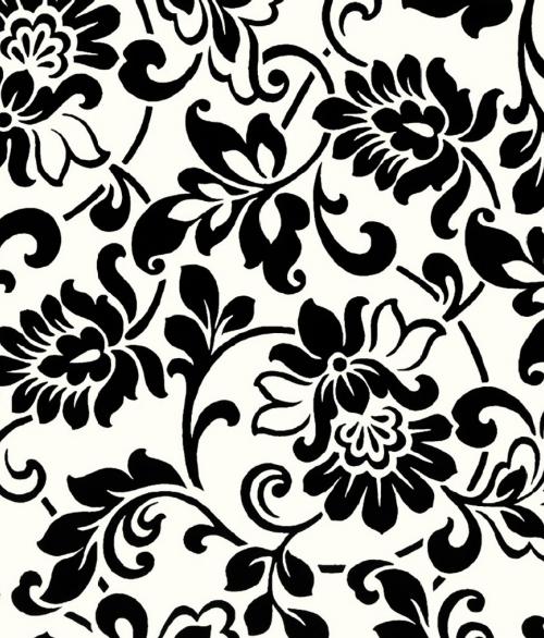 Selvklæbende Folie Sort/Hvid Blomst 45x200cm