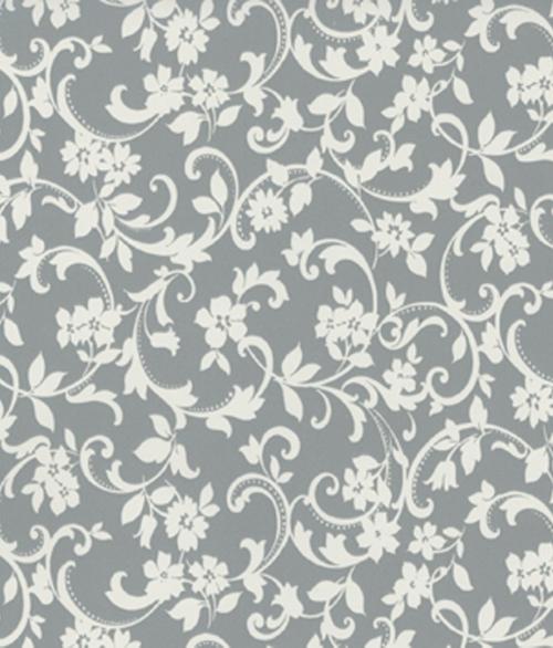 Grå/Hvid Blomst 45x200cm