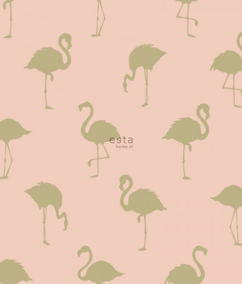 Tapet Tapetcompagniet Flamingo - Rosa/Guld