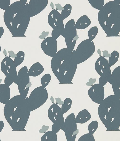 Tapet blå og grå kaktus - Opunita