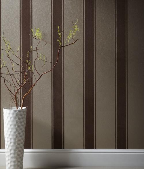 Tapet velour i lys brun - Palais stripe - Sophie Conran