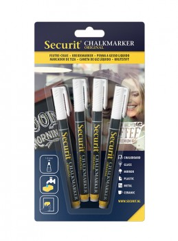 Securit Chalkmarker 4 stk. 1-2 mm.
