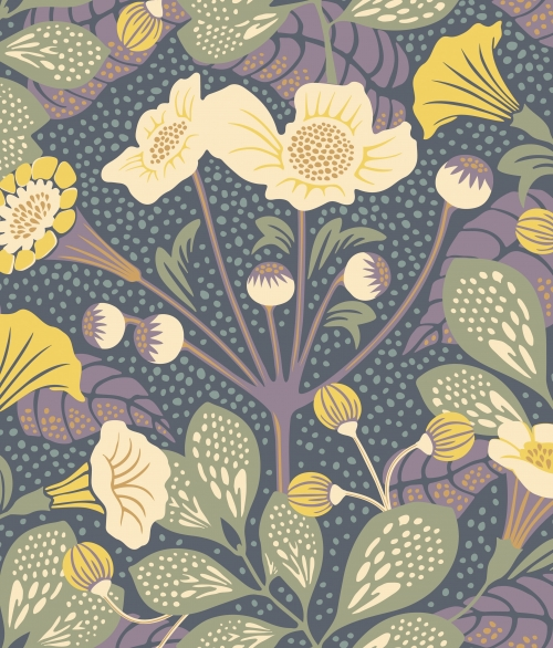 Tapet blomster blå - Vildtuta - Borås