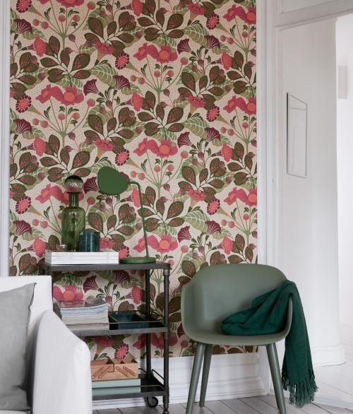 Tapet blomster rosa - Vildtuta - Borås