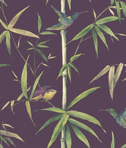 Tapet - Fugle med lilla bund