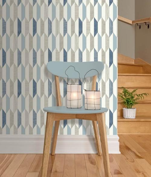Tapet PRISME Blå, hvid og lyseblå mønster