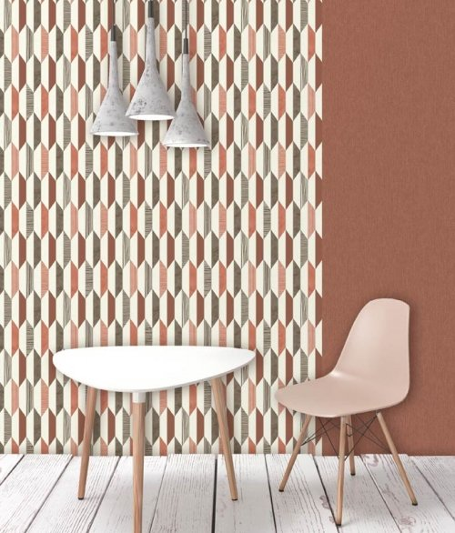 Tapet PRISME Rød, orange og hvid mønster