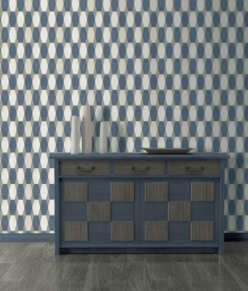 Tapet PRISME Blå, hvide og beige sekskanter i mønster