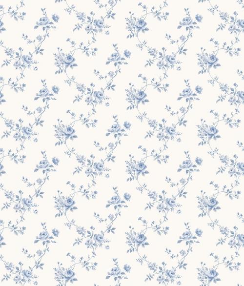 Tapet vilde roser i blå