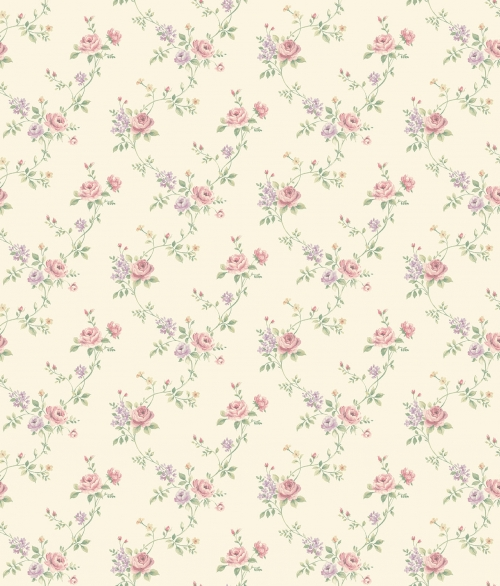 Tapet vilde roser i lyserød/lilla med retro bund