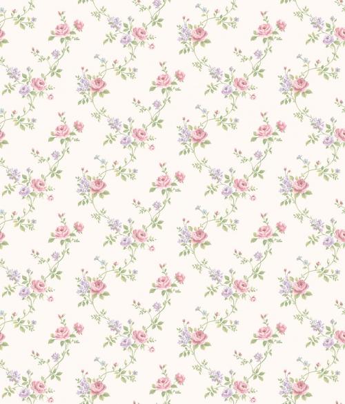 Tapet vilde roser i lyserød/lilla