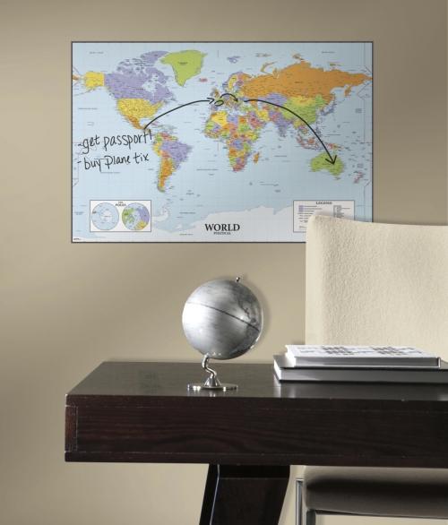 Verdenskort med udviskelig tusch  RMK2362SLM