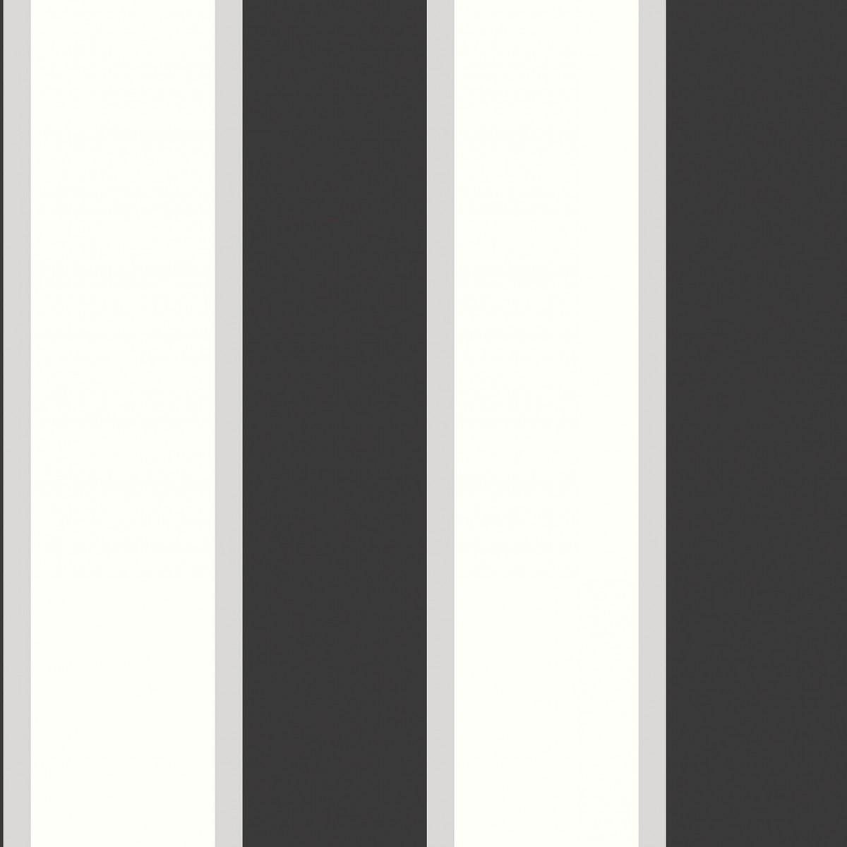 Tapet - Store og små striber i sølv og sort