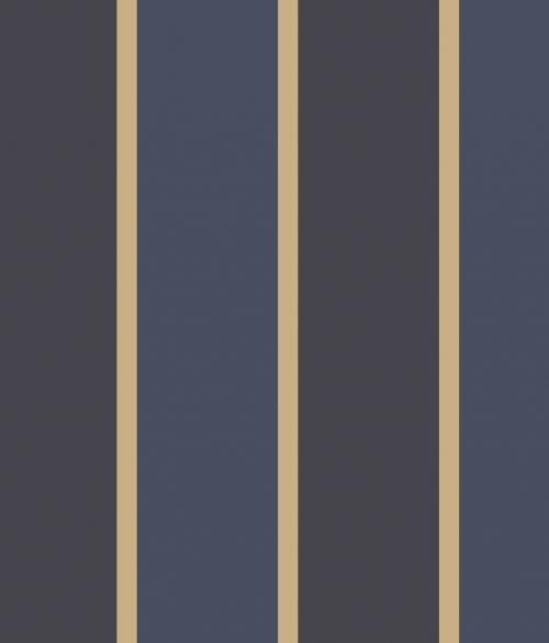 Tapet - Store og små striber i blå/sort og guld