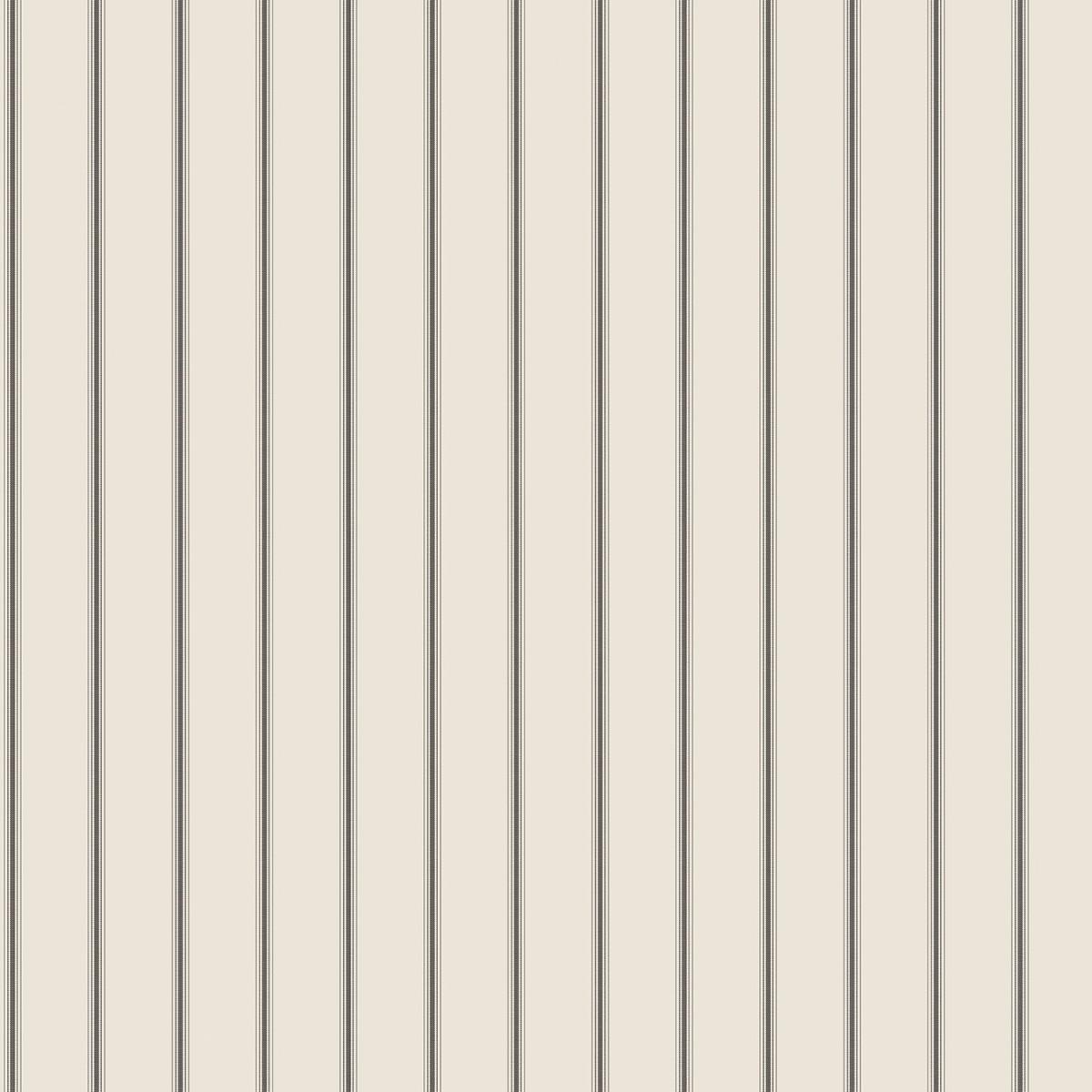 Tapet - Små romantiske striber i sort med creme bund