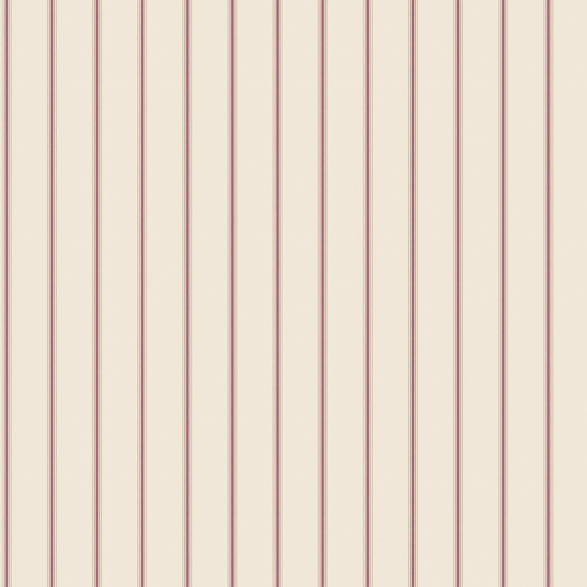 Tapet - Små romantiske striber i bordeaux rød med creme bund