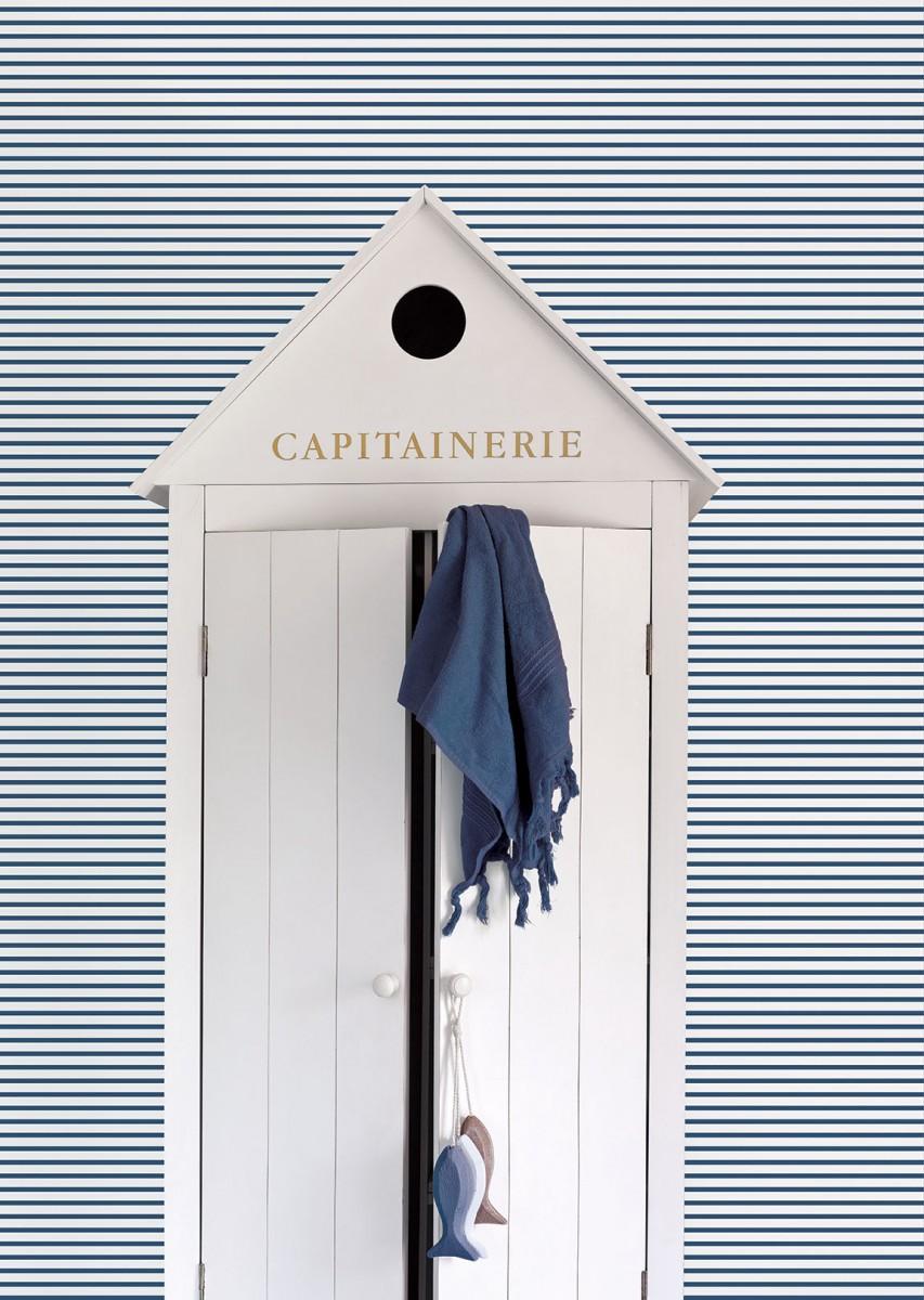 Tapet - Små striber i blå og hvid