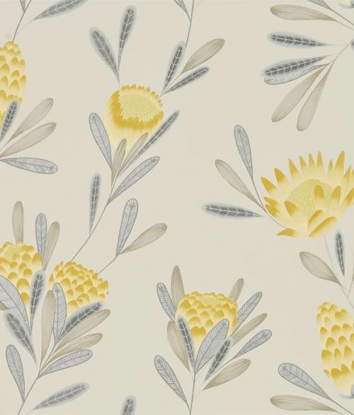 1 RULLE Tapet små blomster i gul med sølv blade - Cayo (UDSALG)