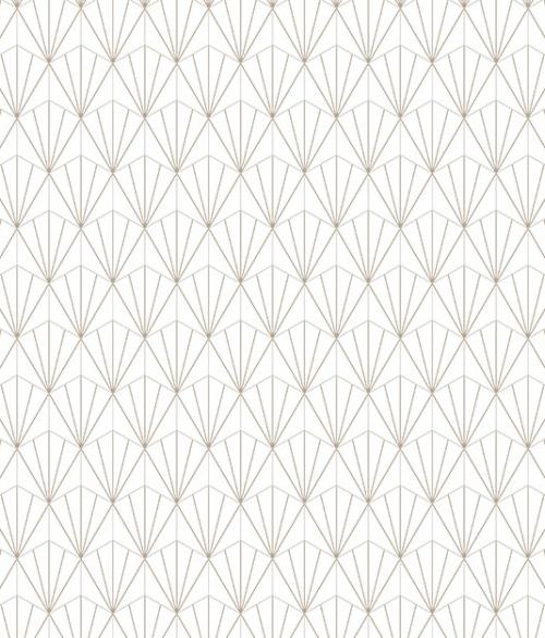 Tapet Lys brun mønster på hvid baggrund