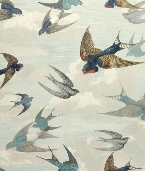 Tapet Chimney Swallow Blå