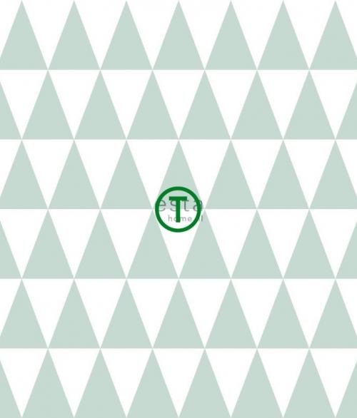 Tapet Hvide og grønne trekanter