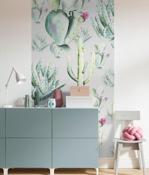 Fototapet Cactus Grey Panel