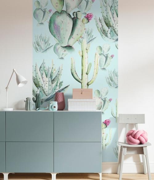 Fototapet Cactus Blue Panel
