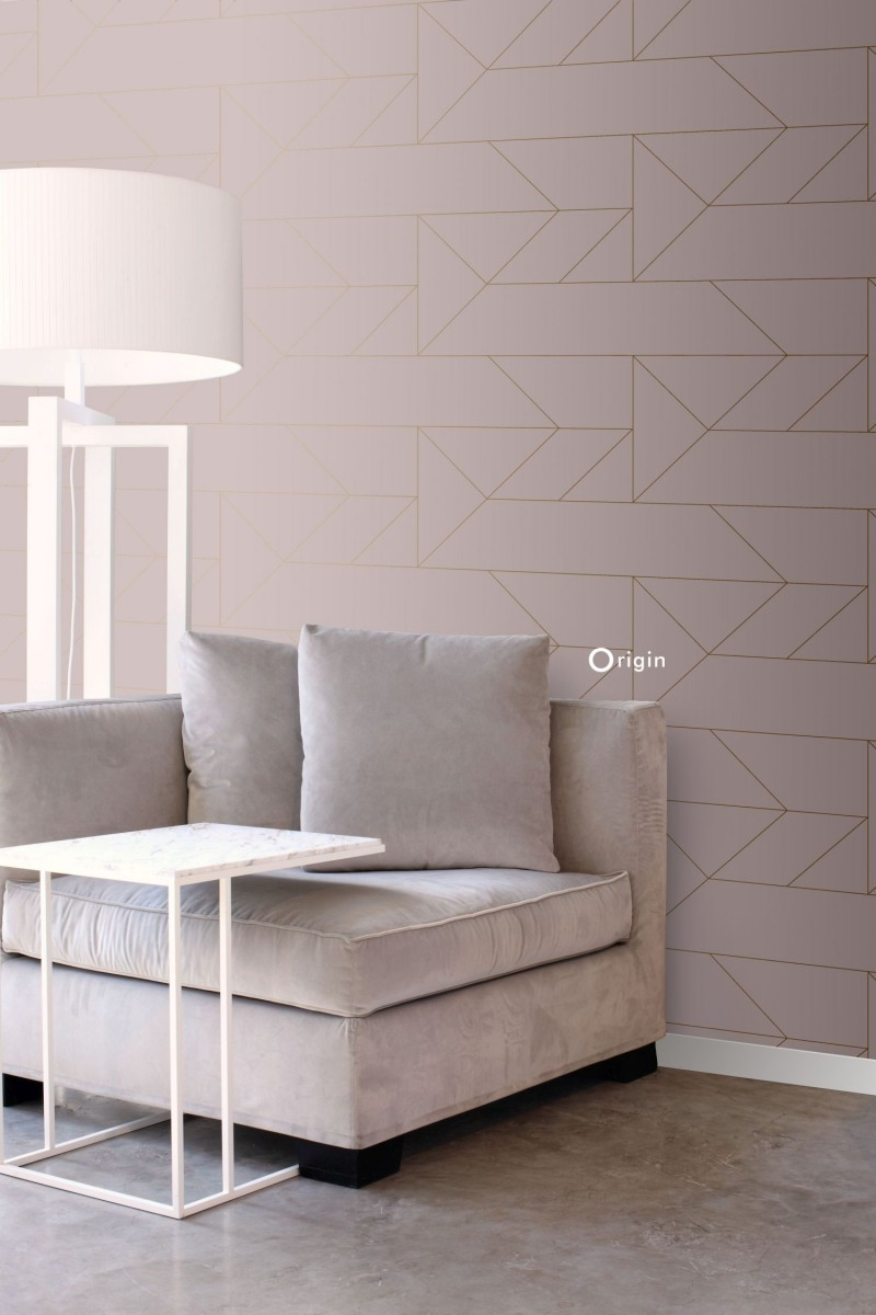 Picture of: Tapet Graphic Lines Gammel Pink Og Guld