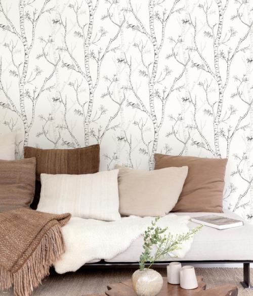 Tapet Nordic Elegance Birketræer på hvid baggrund