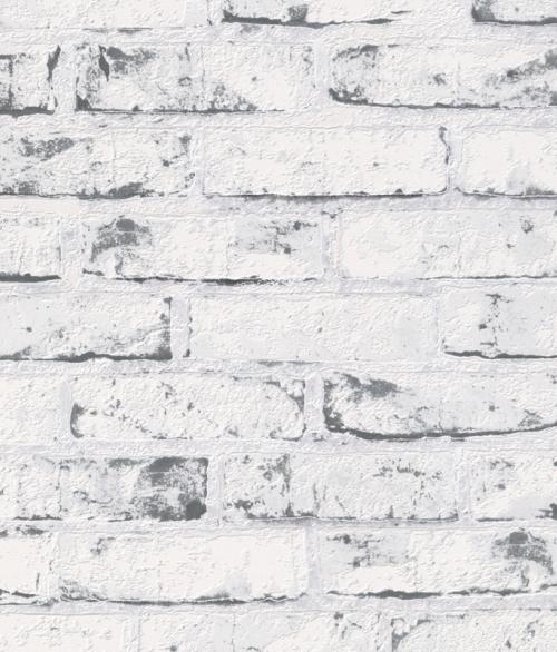 Tapet New England Hvid malet gråmursten