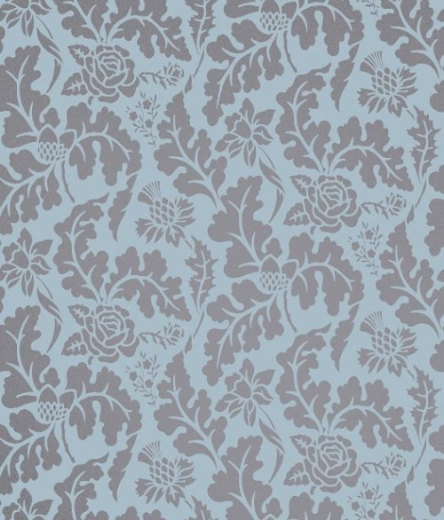 Tapet British Isles Damask Blå-Bronze