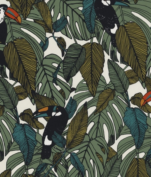 Tapet Toucan Grøn