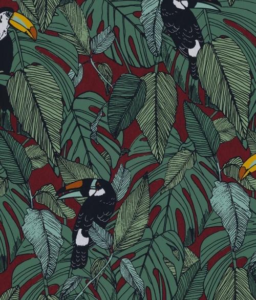Tapet Toucan Grøn/Rød
